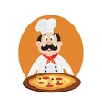 funny chef with pizza vector image