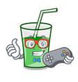 gamer green smoothie mascot cartoon vector image vector image