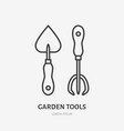 garden work tools flat line icon shovel and fork vector image