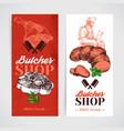 hand drawn sketch meat product banner set vintage vector image vector image