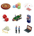 isometric casino icons set laptop with roulette vector image vector image