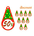 labels with Christmas tree discount vector image vector image