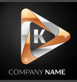 letter k logo symbol in the colorful triangle on vector image vector image