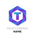 letter t logo symbol on colorful hexagonal vector image vector image