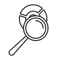 magnifier pie chart icon outline style vector image vector image