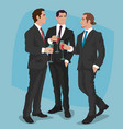 men in business suits drink cocktails or red wine vector image