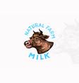 milk label vintage cow logo for shop cattle vector image vector image