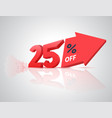 number percent off with big arrow vector image vector image