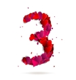 Number three 3 made from red hearts Love alphabet vector image