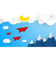 origami plane on blue sky with cloud and sun vector image vector image
