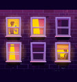 people in windows private life in apartments vector image