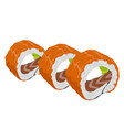 philadelphia roll sushi with salmon vector image