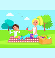 picnic of mother and daughter vector image vector image