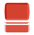 rectangular red plastic tray salver with handles vector image