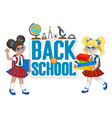 school background with little girl vector image vector image