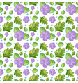 seamless background design with purple flowers vector image