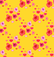 seamless pattern with roses and hearts vector image vector image