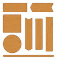 set different wooden planks and signs on white vector image