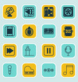 set of 16 music icons includes following song vector image vector image