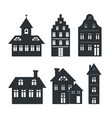 set of silhouettes of building vector image