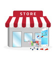 smartphone cartoon shopping at store vector image