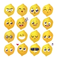 smiles set fruit characters cute vector image vector image