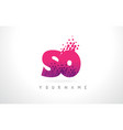 so s o letter logo with pink purple color and vector image