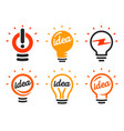 stylized set lightbulbs collection vector image vector image