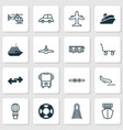 transport icons set with combat aircraft copter vector image