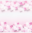 Trendy abstract pink background with 3d sakura vector image vector image