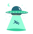 ufo abducts human space ship ray light vector image
