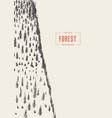 Vertical pine forest drawn sketch