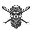 vintage bearded and mustached bandit skull vector image vector image