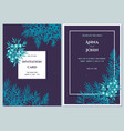 wedding invitation card with blue juniper vector image