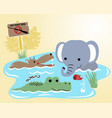 wildlife animals cartoon in swamp vector image