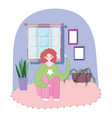 young woman sitting in floor room with potted vector image vector image