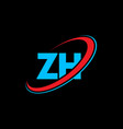 zh z h letter logo design initial letter zh vector image vector image