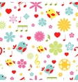 Flowers birds and music notes seamless pattern vector image