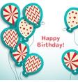 Happy birthday retro postcard with balloons vector image