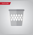 isolated bin flat icon trashcan element vector image