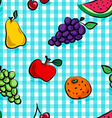 Seamless grungy fruits over light blue gingham vector image