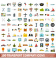 100 transport company icons set flat style vector image vector image