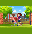 a family running in the park vector image vector image