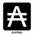 austral currency symbol vector image vector image