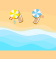 beach seashore with waves chaise lounge with an vector image vector image