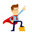 businessman wearing a red cape pointing and vector image vector image