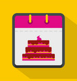 calendar birthday icon flat style vector image