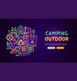 camping outdoor neon banner design vector image vector image