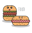 cartoon burger with facial expression and hot dog vector image