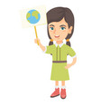 caucasian girl holding a placard with planet vector image